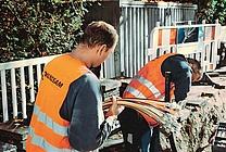 Tiefbauarbeiten: Ausbau des Glasfasernetzes in München (jpeg, 450 dpi, 2,1 MB)