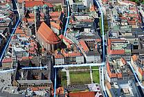 Animierte Luftbildaufnahme: Glasfaserausbau rund um die Frauenkirche in der Münchner Innenstadt (jpeg, 300 dpi, 2 MB)